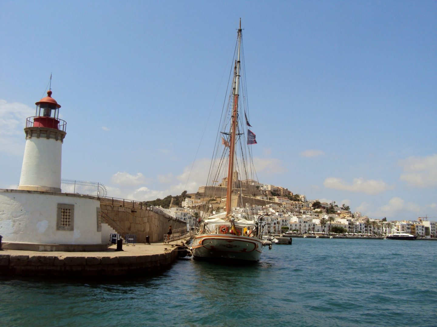 Views across Ibiza Town from the Pacha 67 sailboat