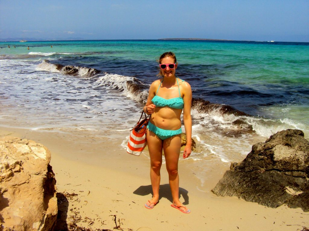 Jo on the Playa de Ses Illetes, Formentera