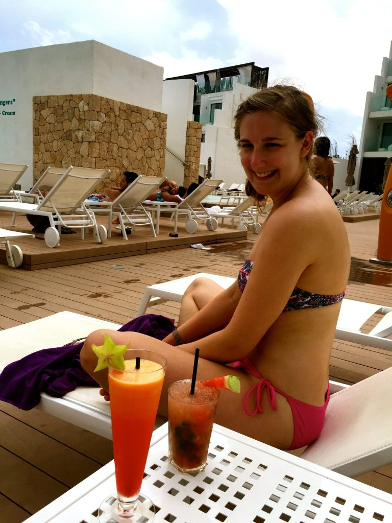 Jo by the pool at the Hard Rock Hotel Ibiza before visiting the Sunset Strip