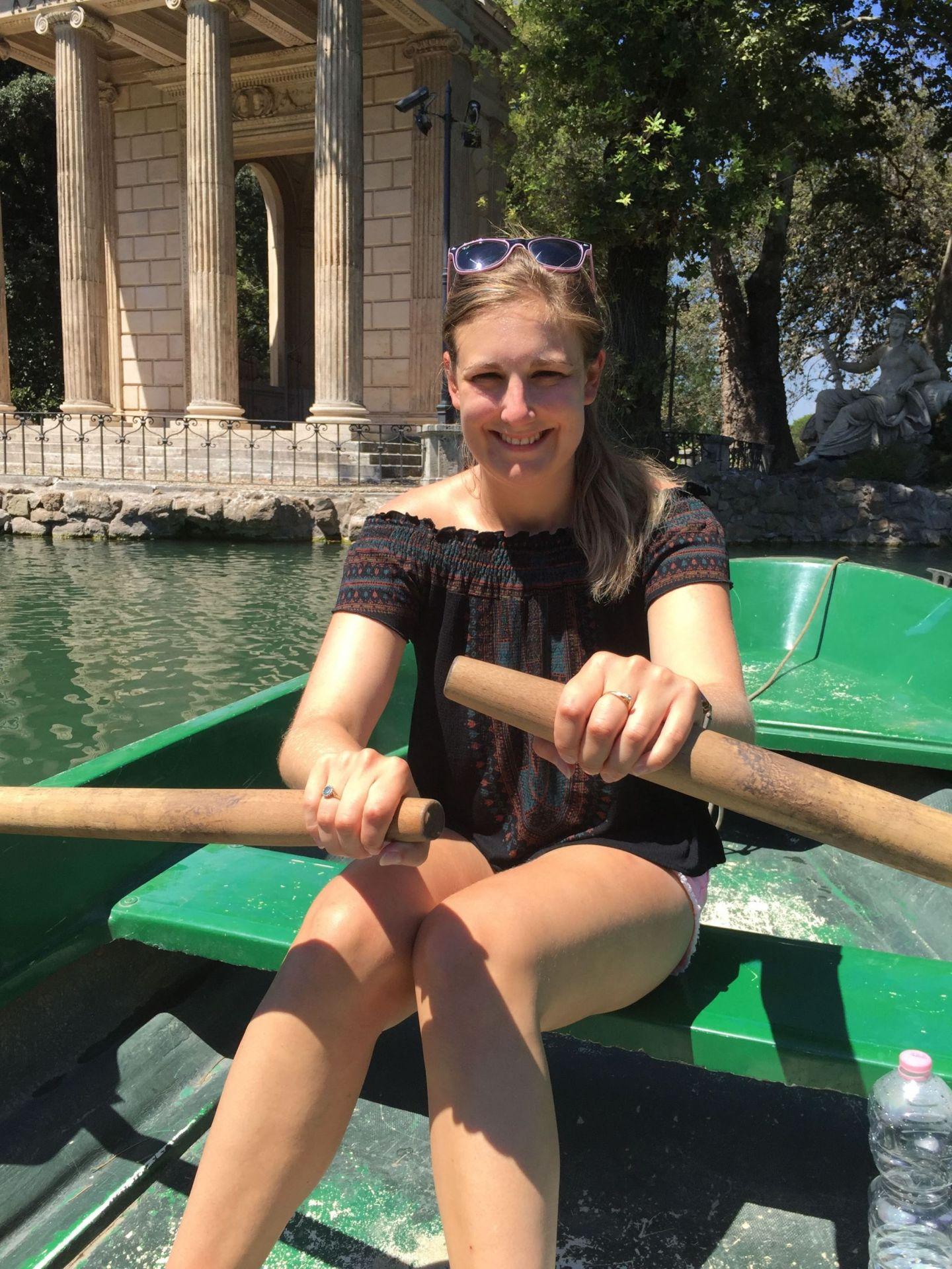 Rowing across the lake