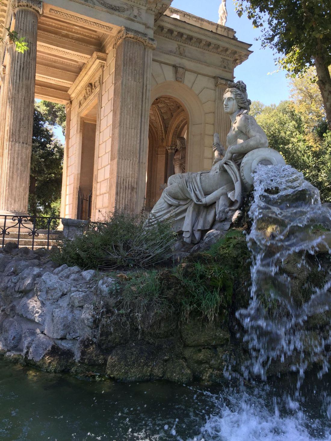 Statue on Villa Borghese Gardens lake