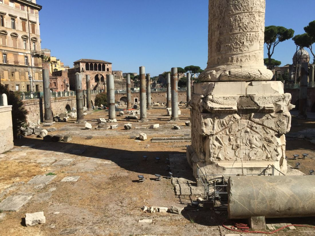 Trajan's Forum and the ancient ruins of Rome, Italy near the Colosseum