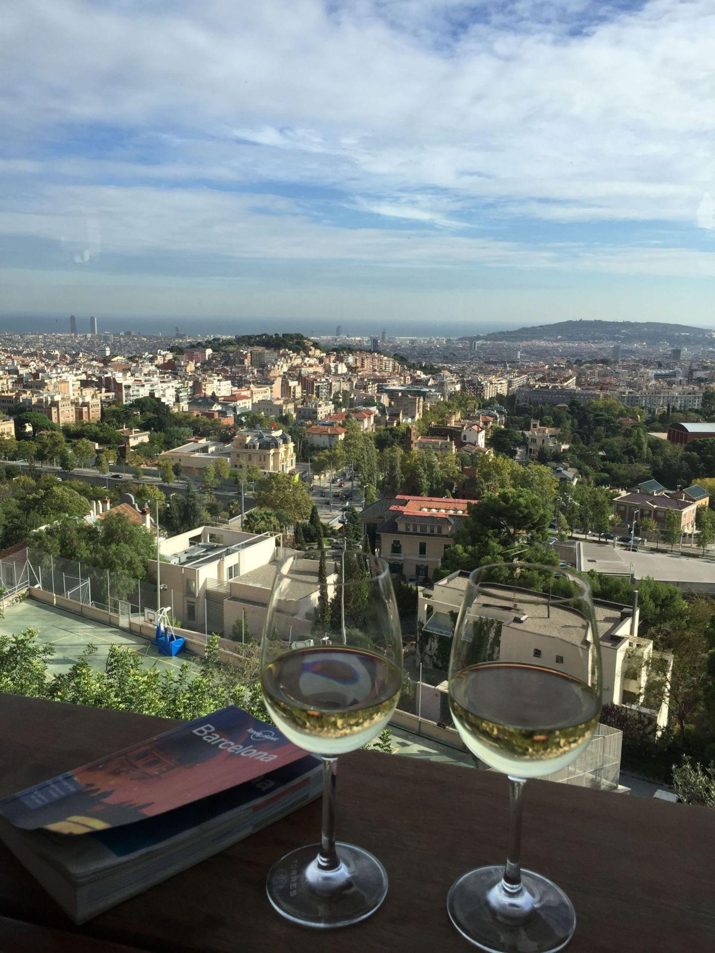 Wine and views from Mirablau, Tibidabo, Barcelona