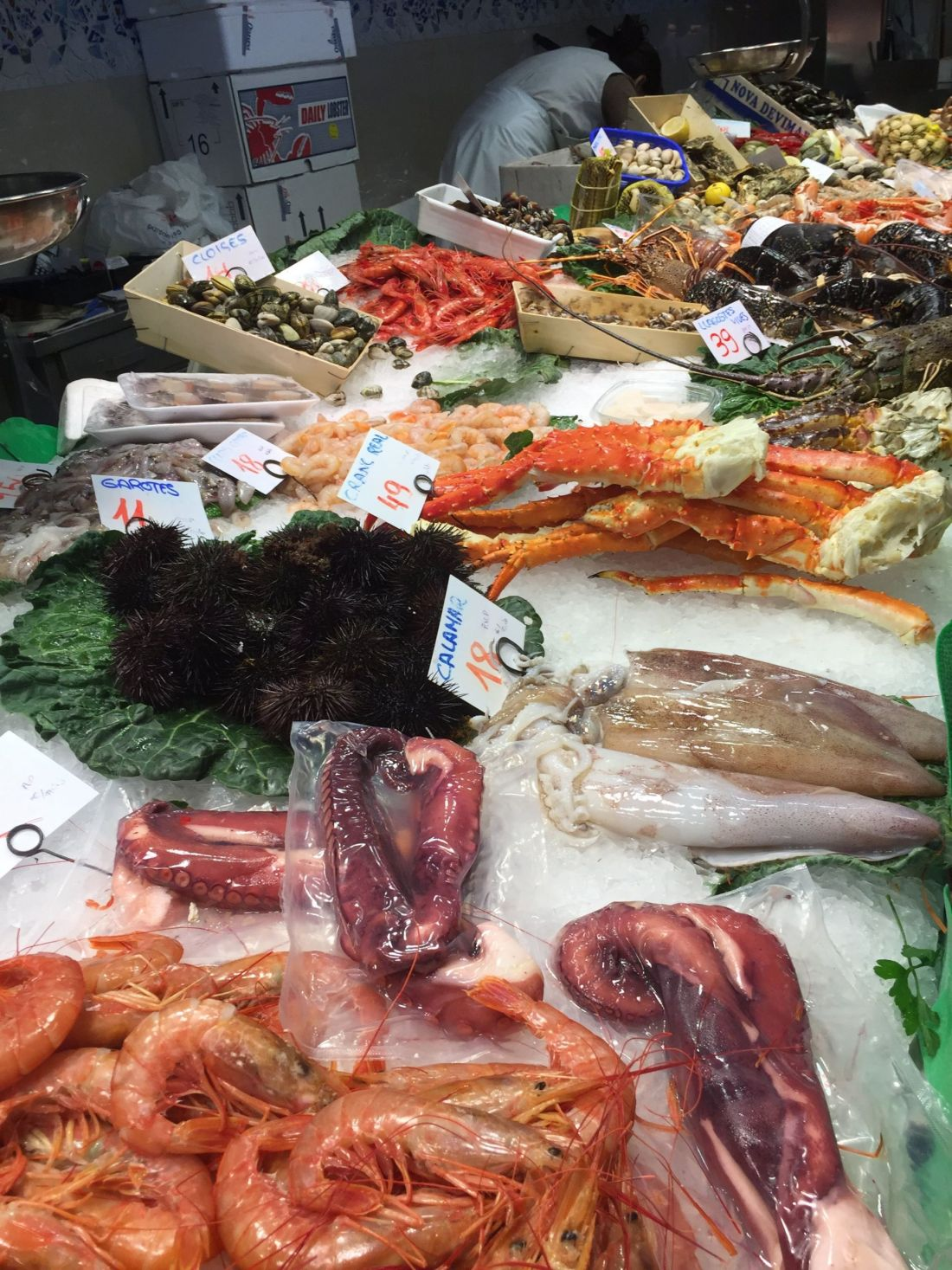 Fish market at La Boqueria