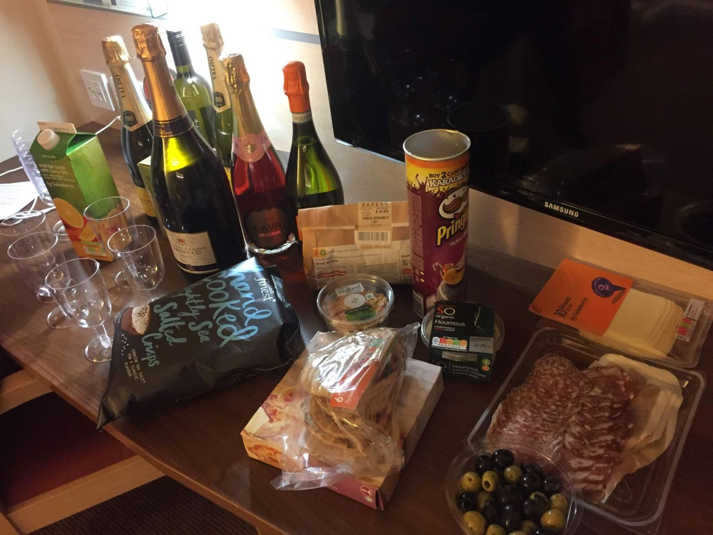 New Year's Eve snacks and prosecco in Cheltenham