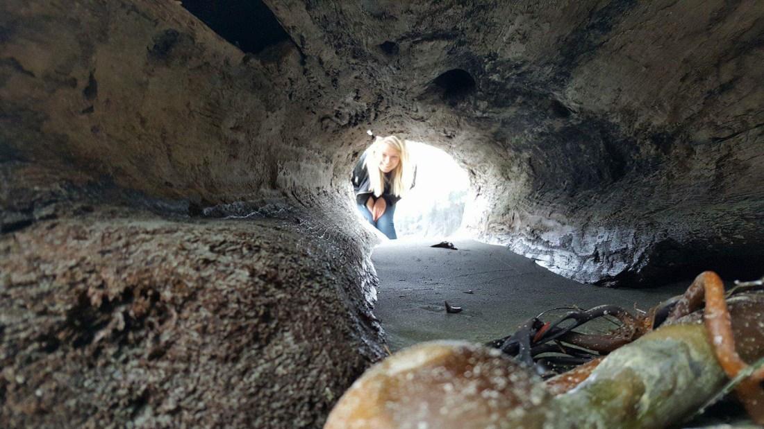 Laura exploring Half Moon Bay on Vancouver Island
