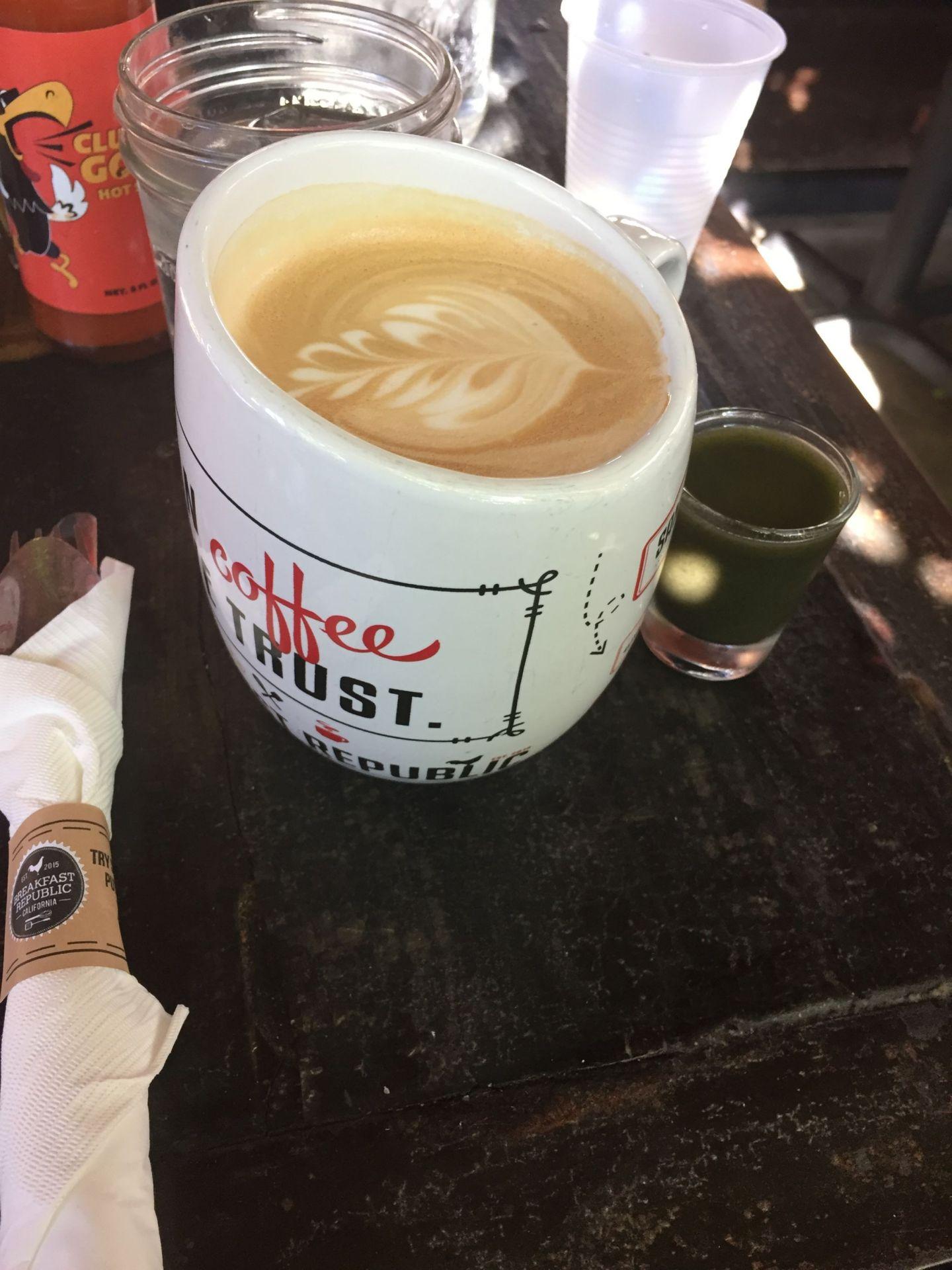 A huge latte at Breakfast Republic, San Diego