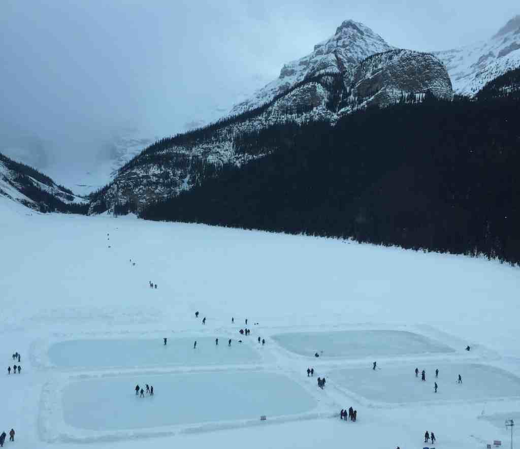 Frozen lakes for ice skating on Lake Louise, Banff
