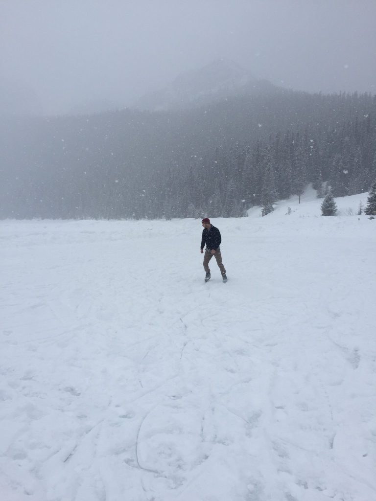 Ice skating across Lake Louise