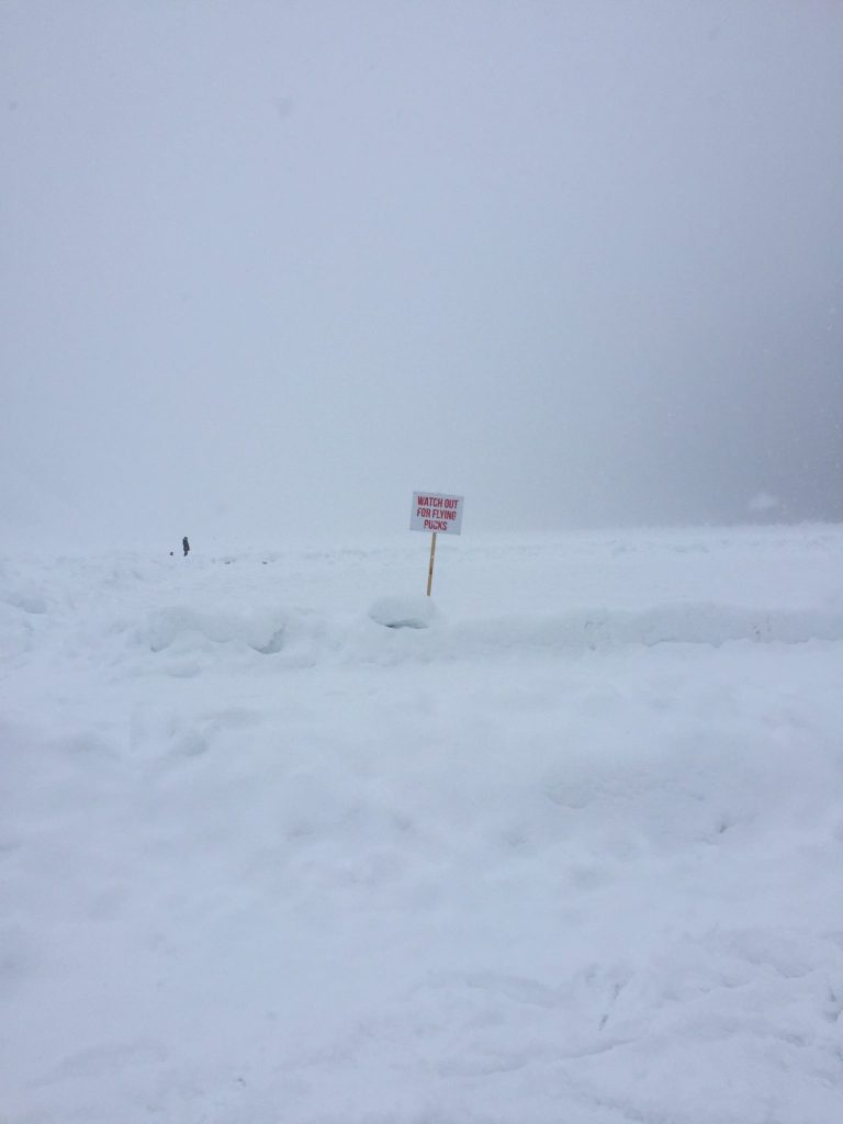 Ice hockey warning on the ice at Lake Louise