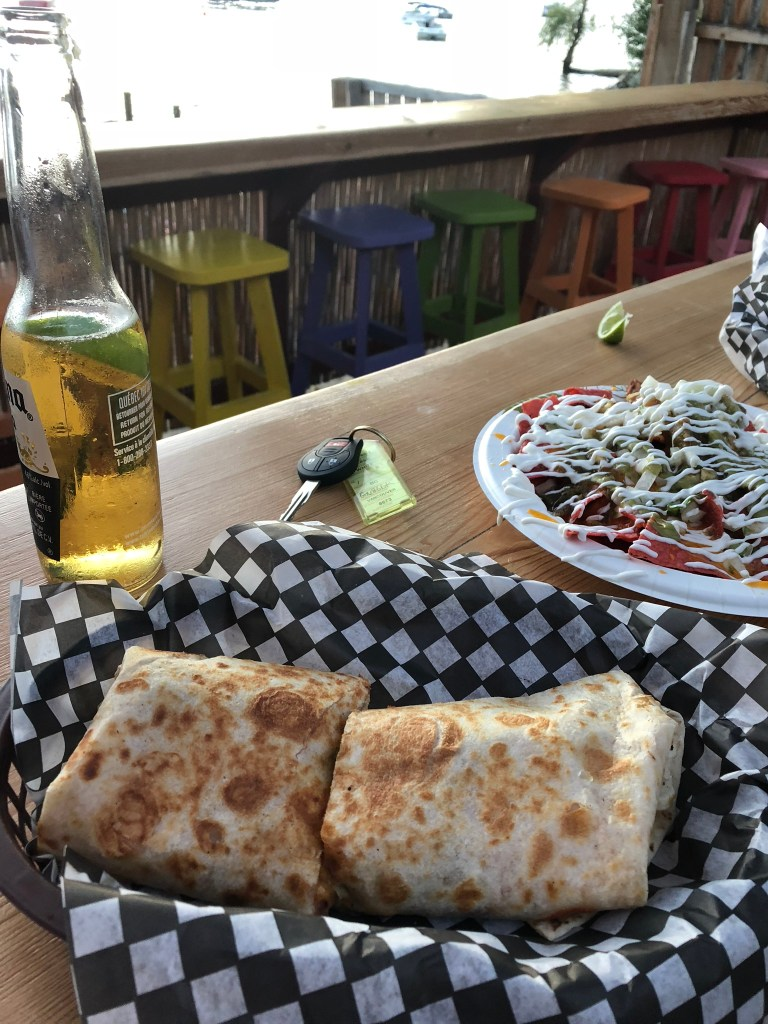Burritos and beer at Spirit Beach Cantina, Osoyoos