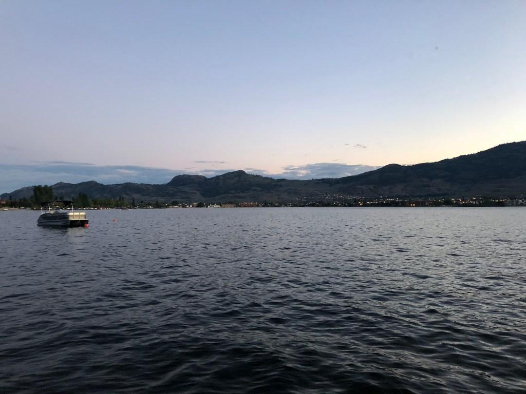 Boats on Lake Okanagan at sunset