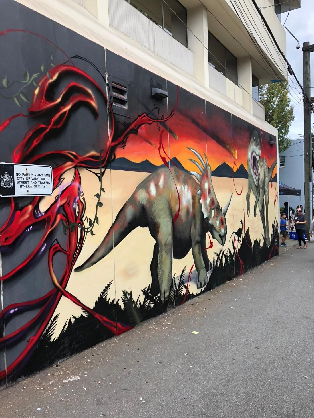 Dinosaur mural at Vancouver Mural Festival