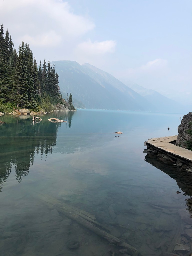 Looking out at the mountains across Garibaldi Lake
