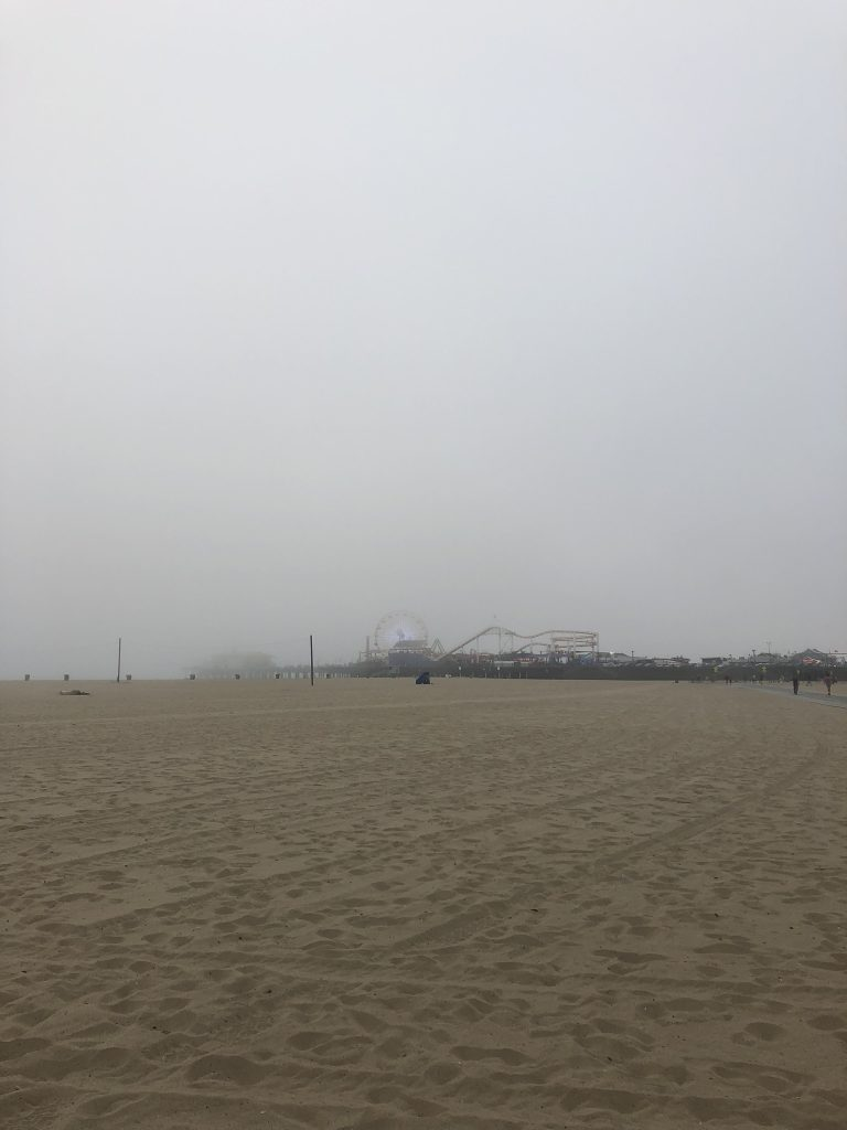 A foggy view to Santa Monica Pier, California