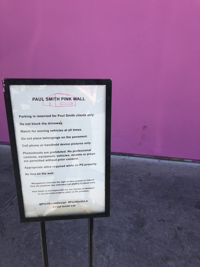 Rules for the Paul Smith pink wall, LA