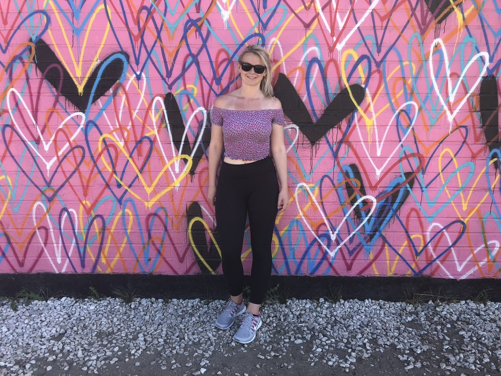 Stood in front of the heart mural, Beverly Hills