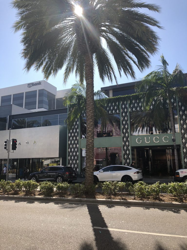 Luxury designer shops along Rodeo Drive, Los Angeles