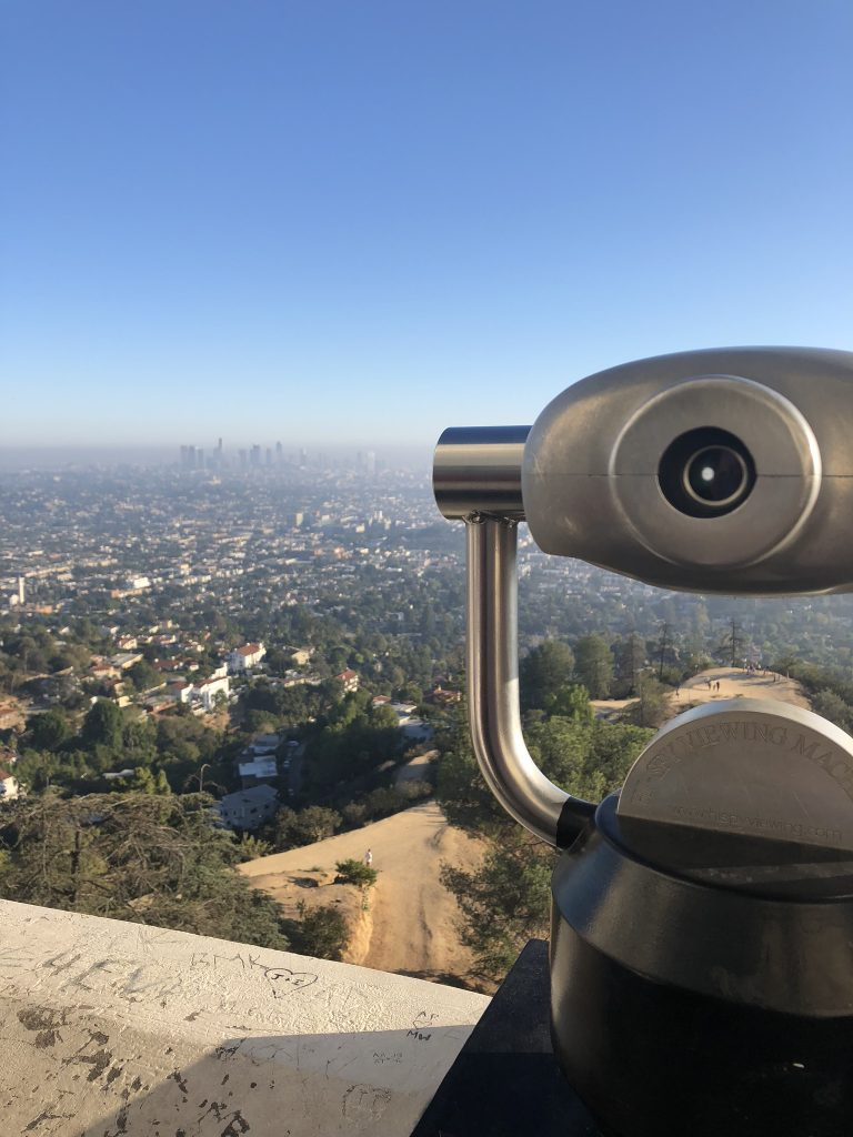 A telescope for viewing downtown LA