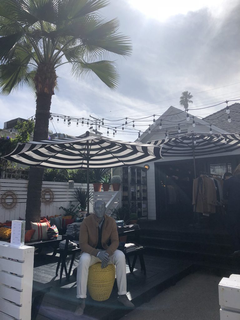 Boutique stores and gardens on Abbot Kinney Boulevard, Venice