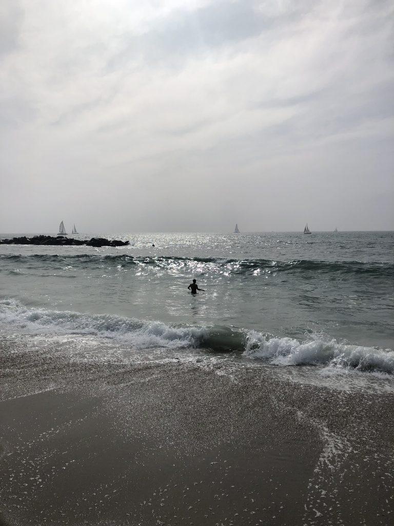 Swimmers at Venice Beach, California