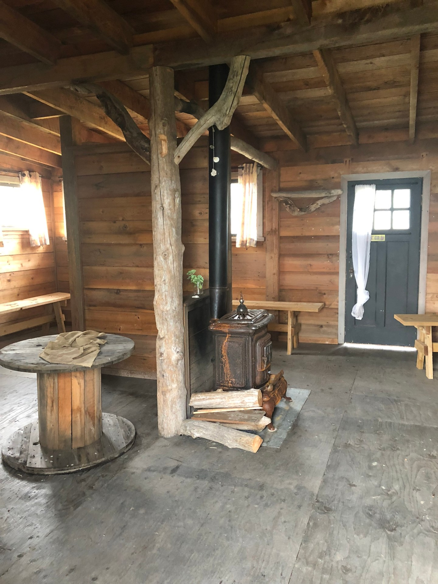 Inside the hut on Island View Beach, Vancouver Island