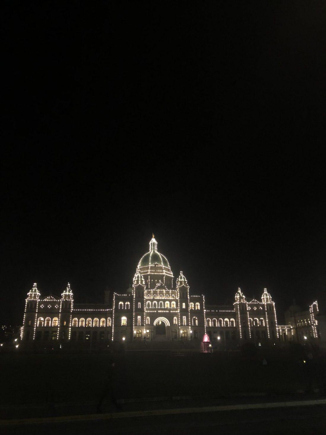 Parliament Buildings at night in Victoria, British Columbia