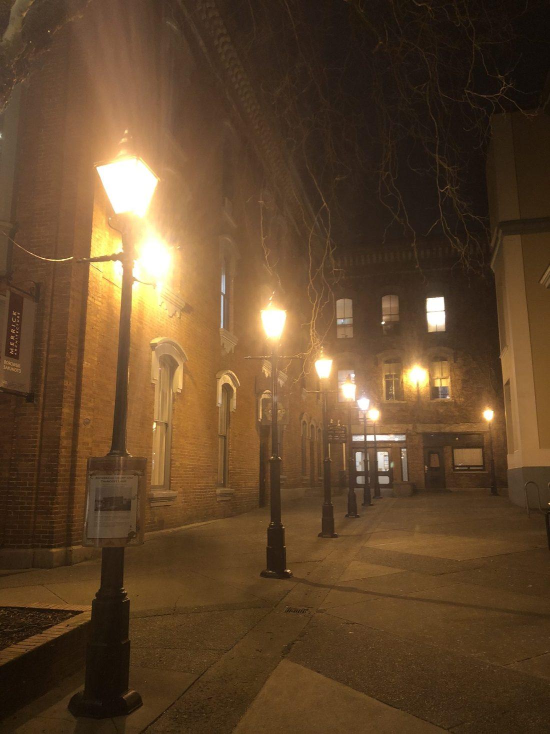 Gas lamps and historic architecture in Victoria, British Columbia