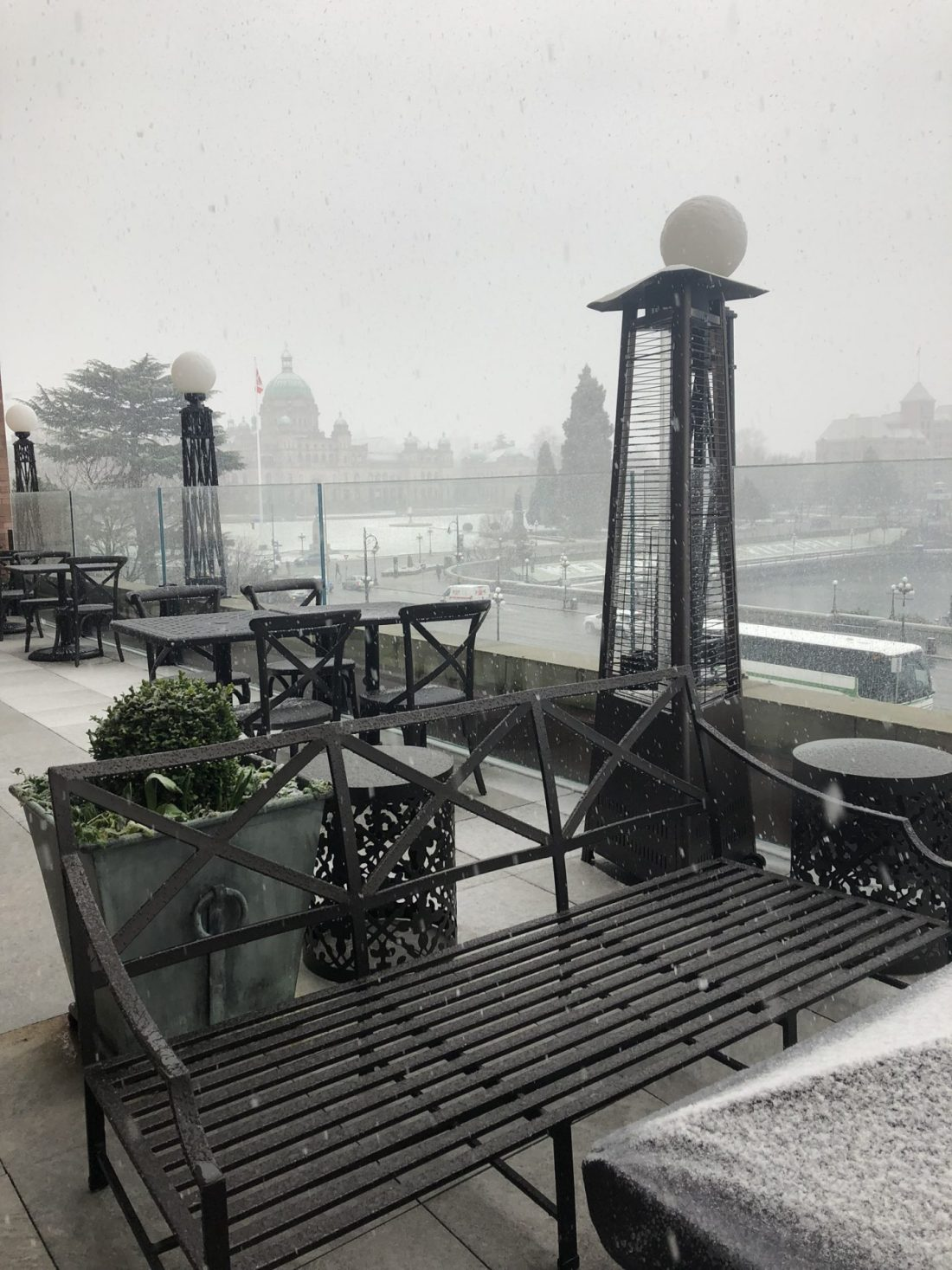 Snow in winter over Victoria, British Columbia and the Parliament Building
