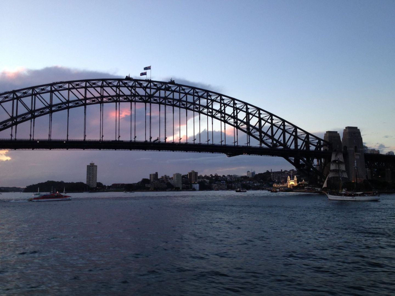 A sunset over Sydney Harbour Bridge