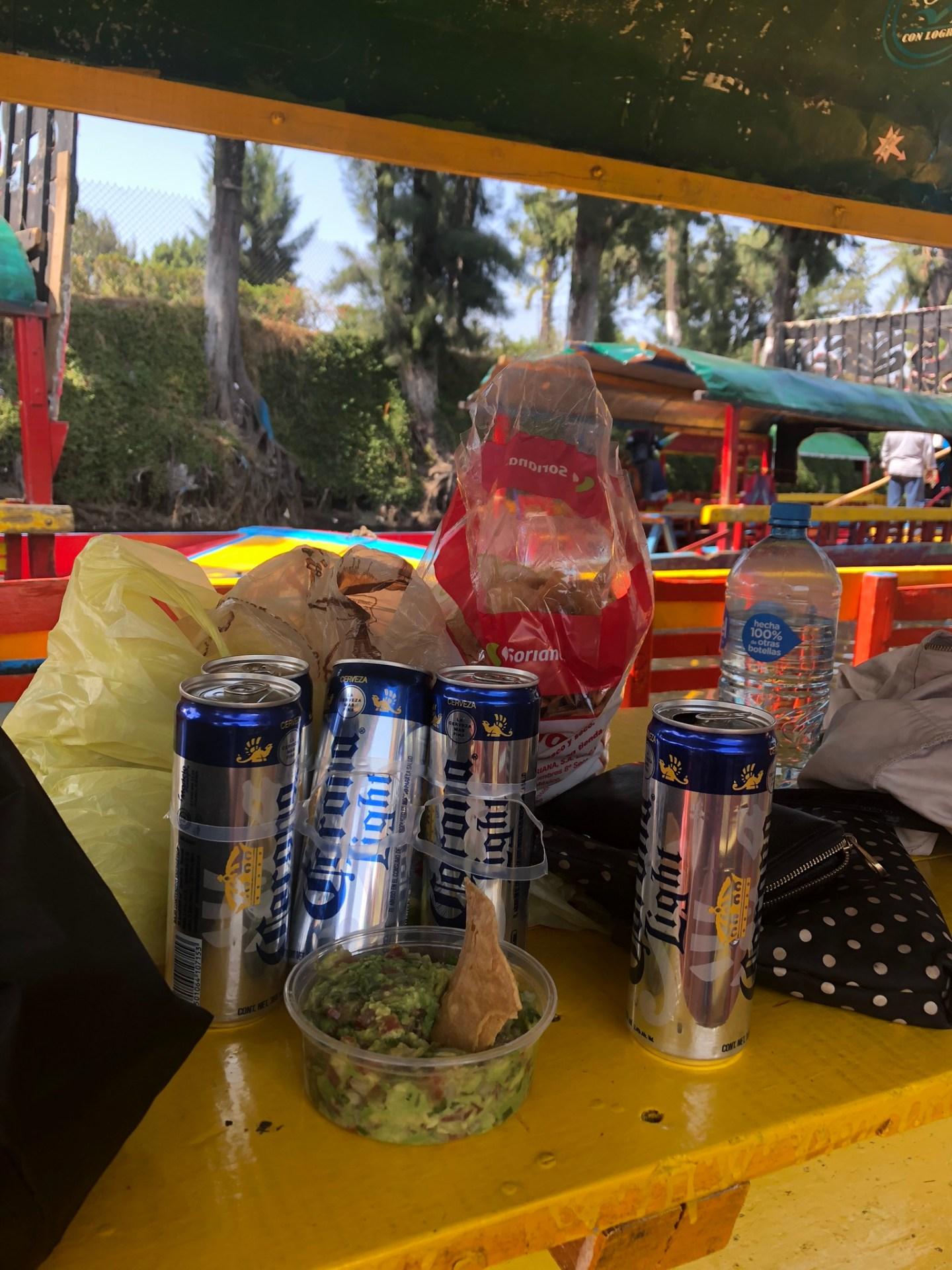 Corona and guacamole for the trajinera ride