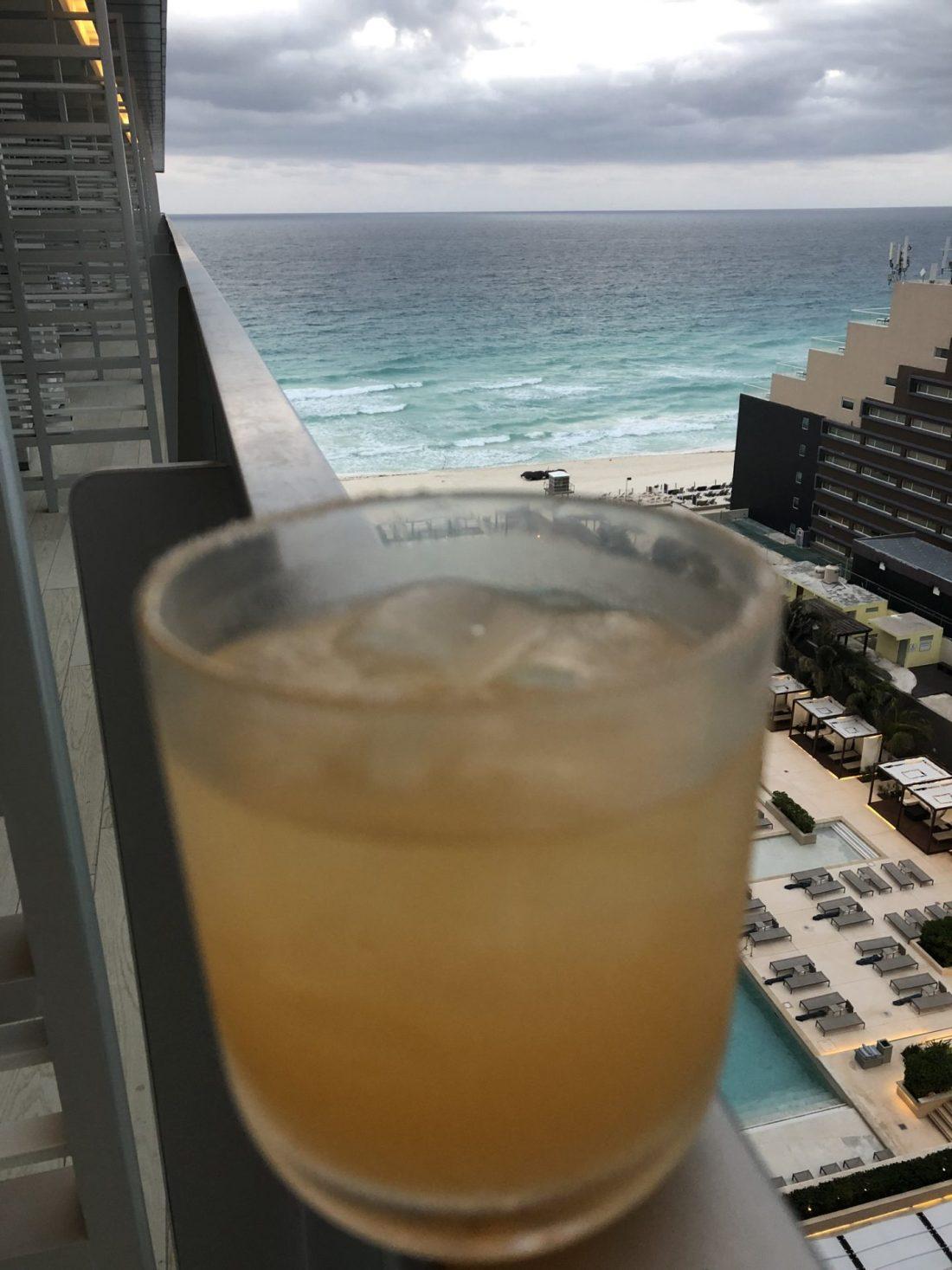 Margarita on the balcony, Cancun