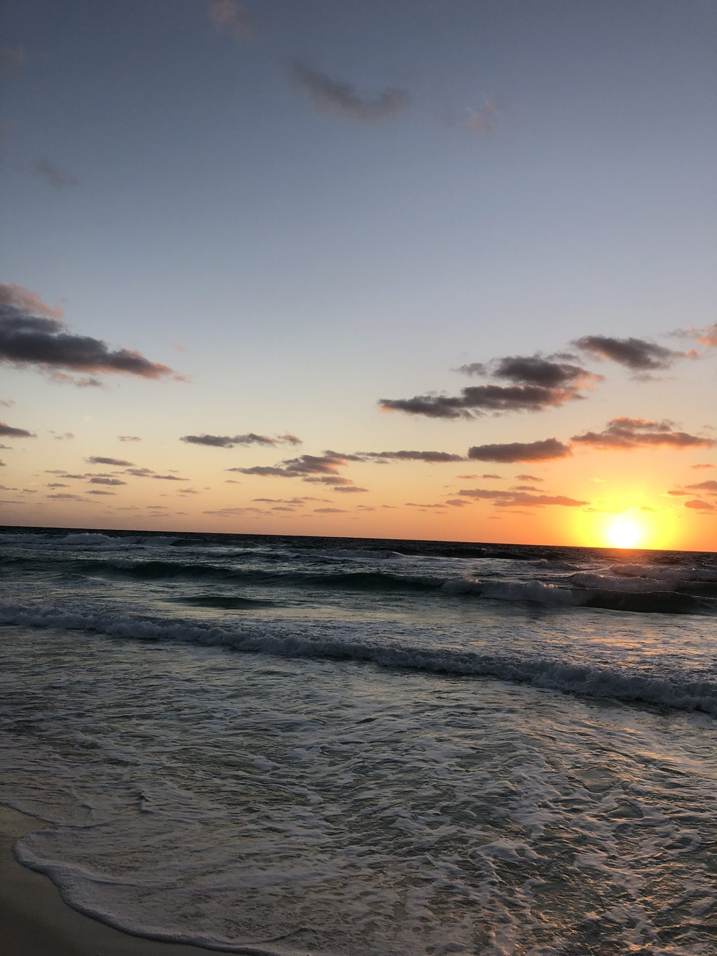 Sunrise on the beach in Cancún