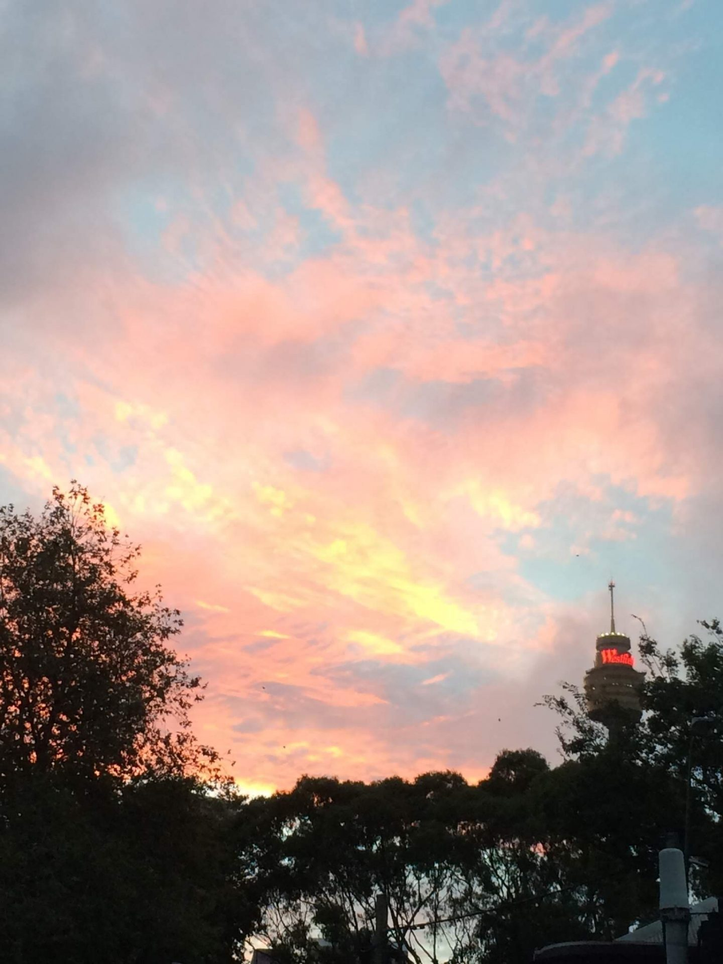 Sydney sunset near Westfield