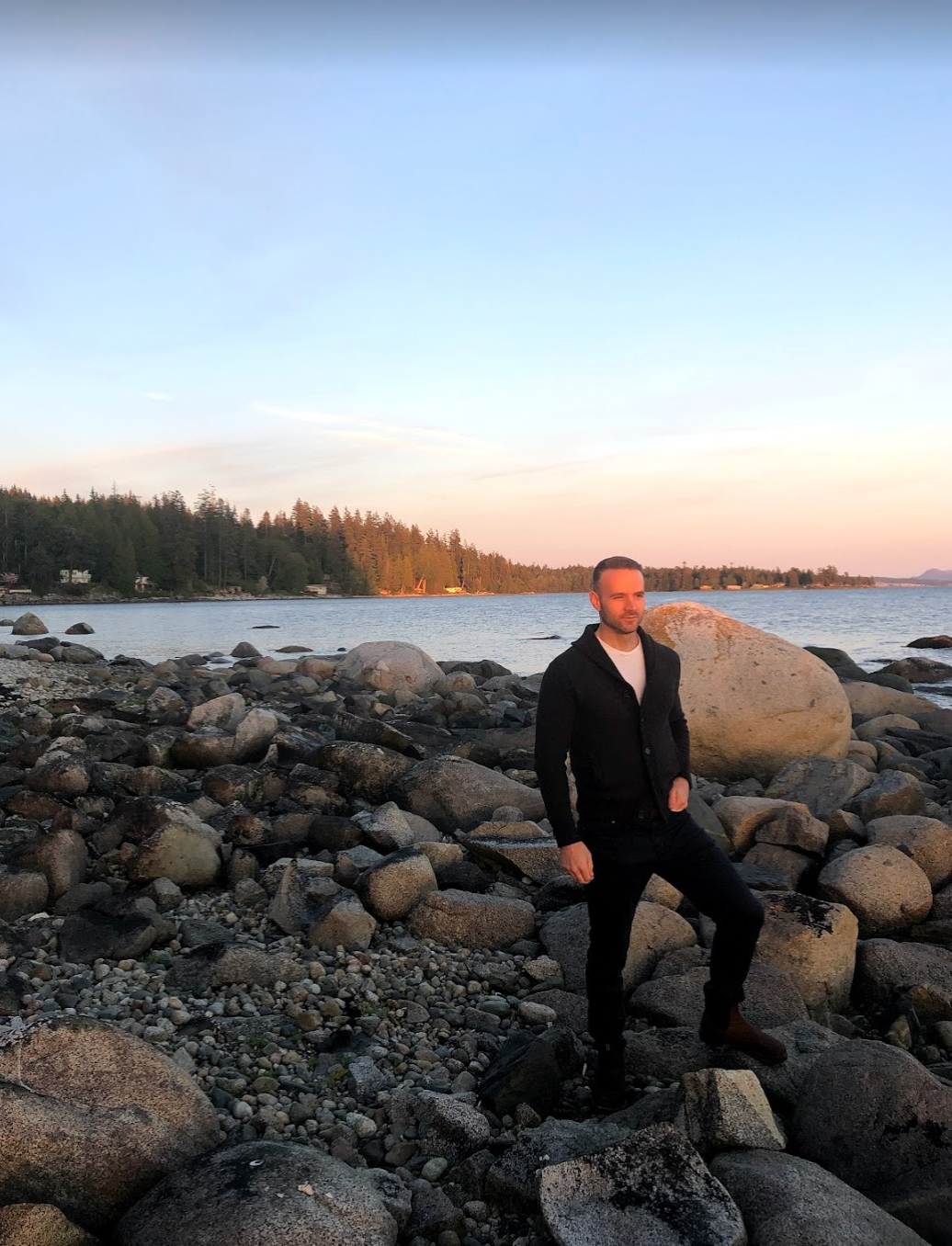 Jordan taking in the sunset of Powell River, BC
