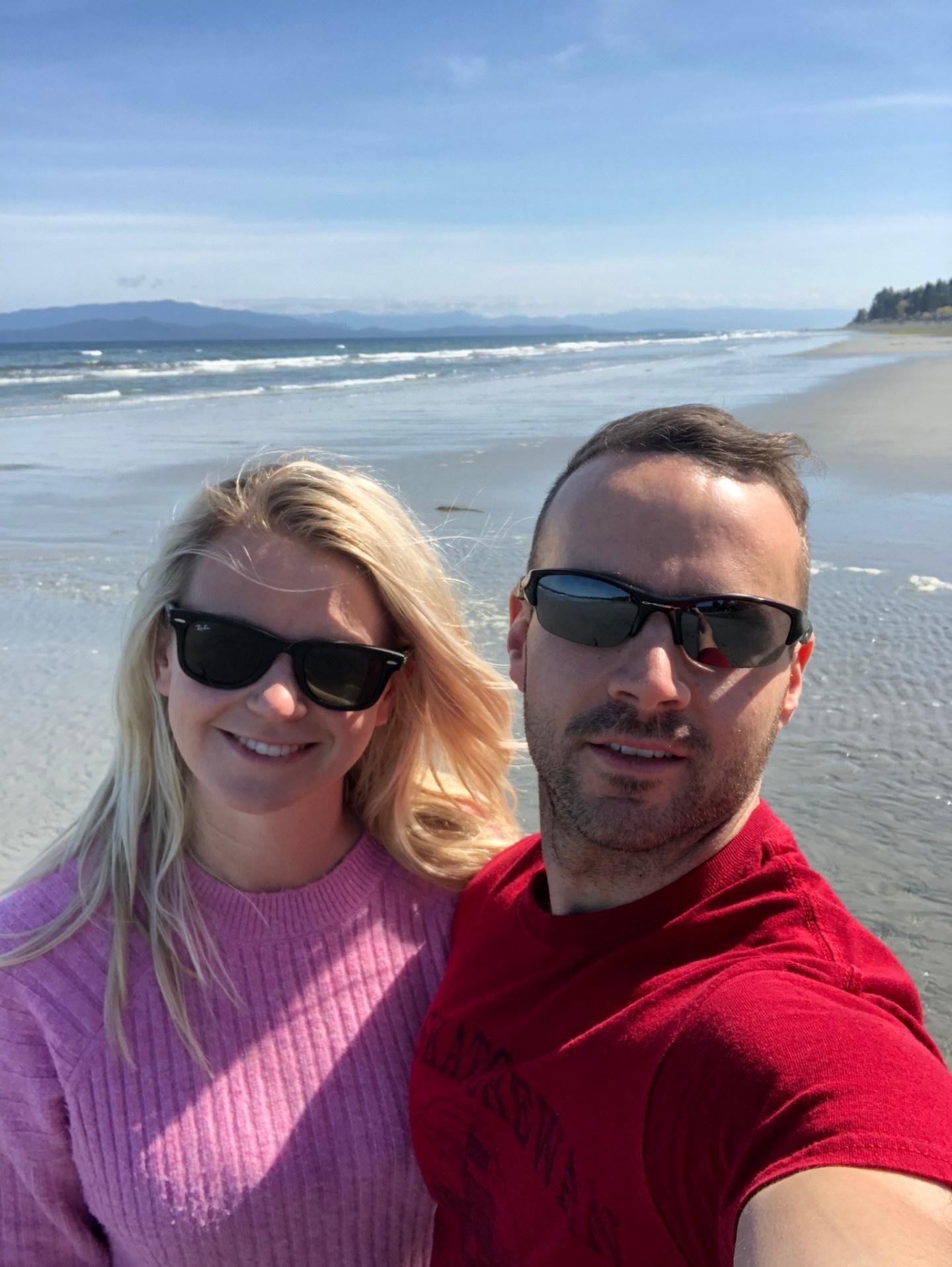 Couple on Qualicum Beach, near Parksville