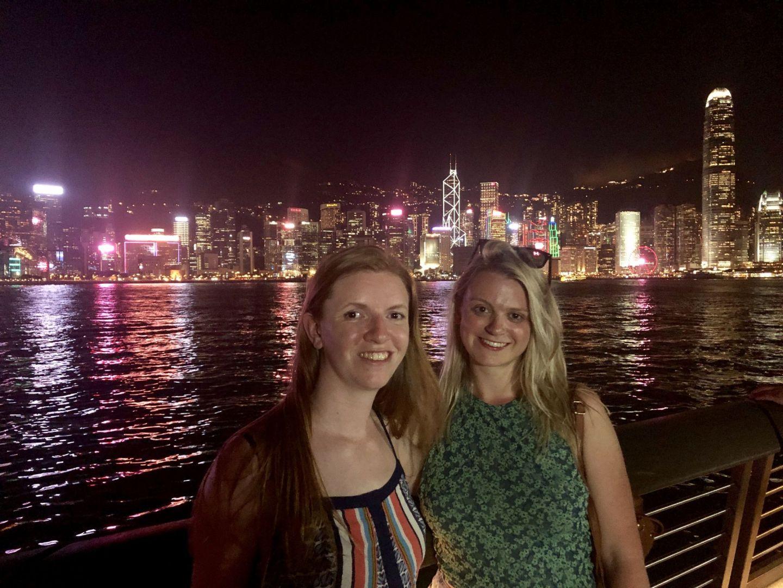 Girls at the Symphony of Light, Hong Kong