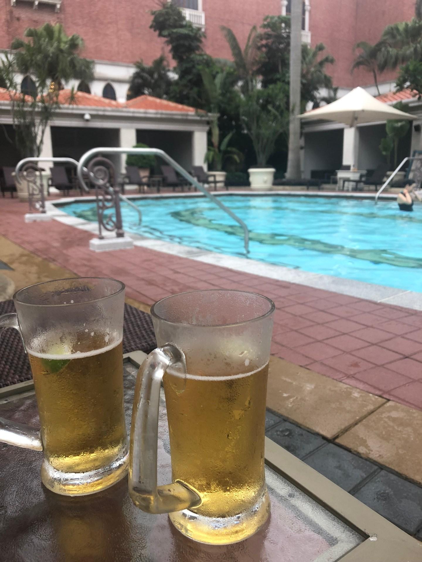 Beers at the pool at the Venetian Macau, Cotai Strip