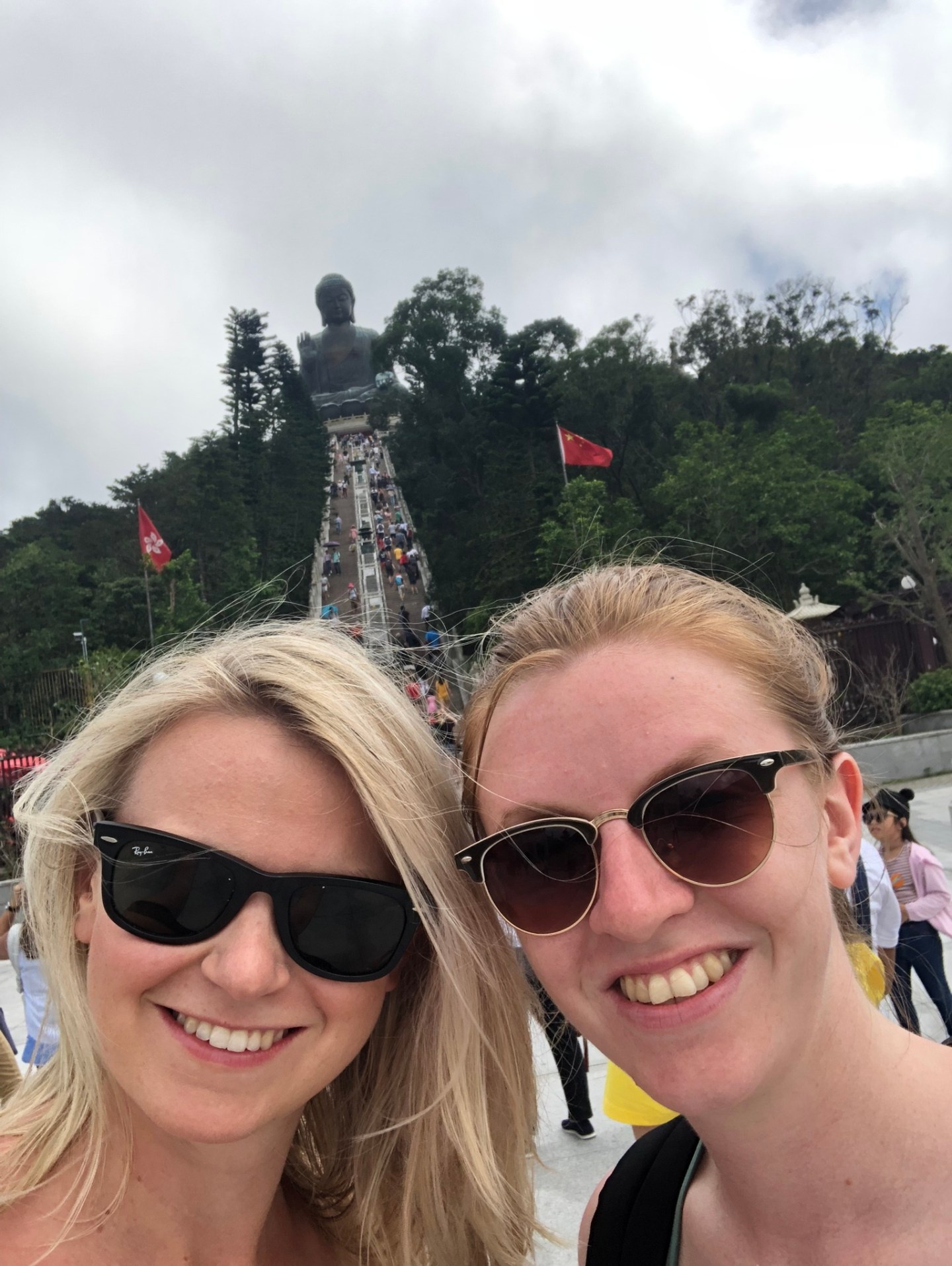 Girls in front of the Big Buddha, Lantau Island