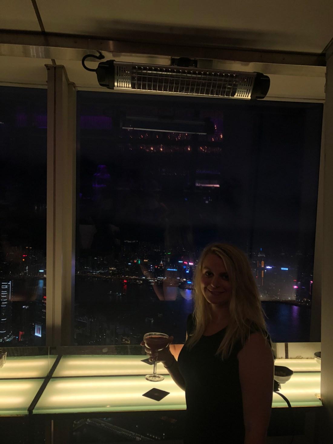 Laura at the Ozone bar in the Ritz, Hong Kong