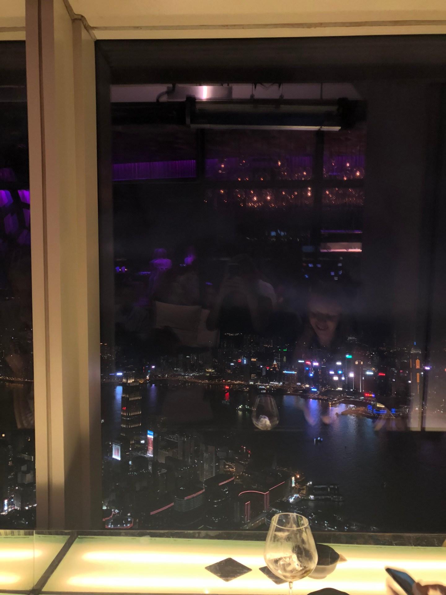 View at night from the Ozone Bar, Hong Kong