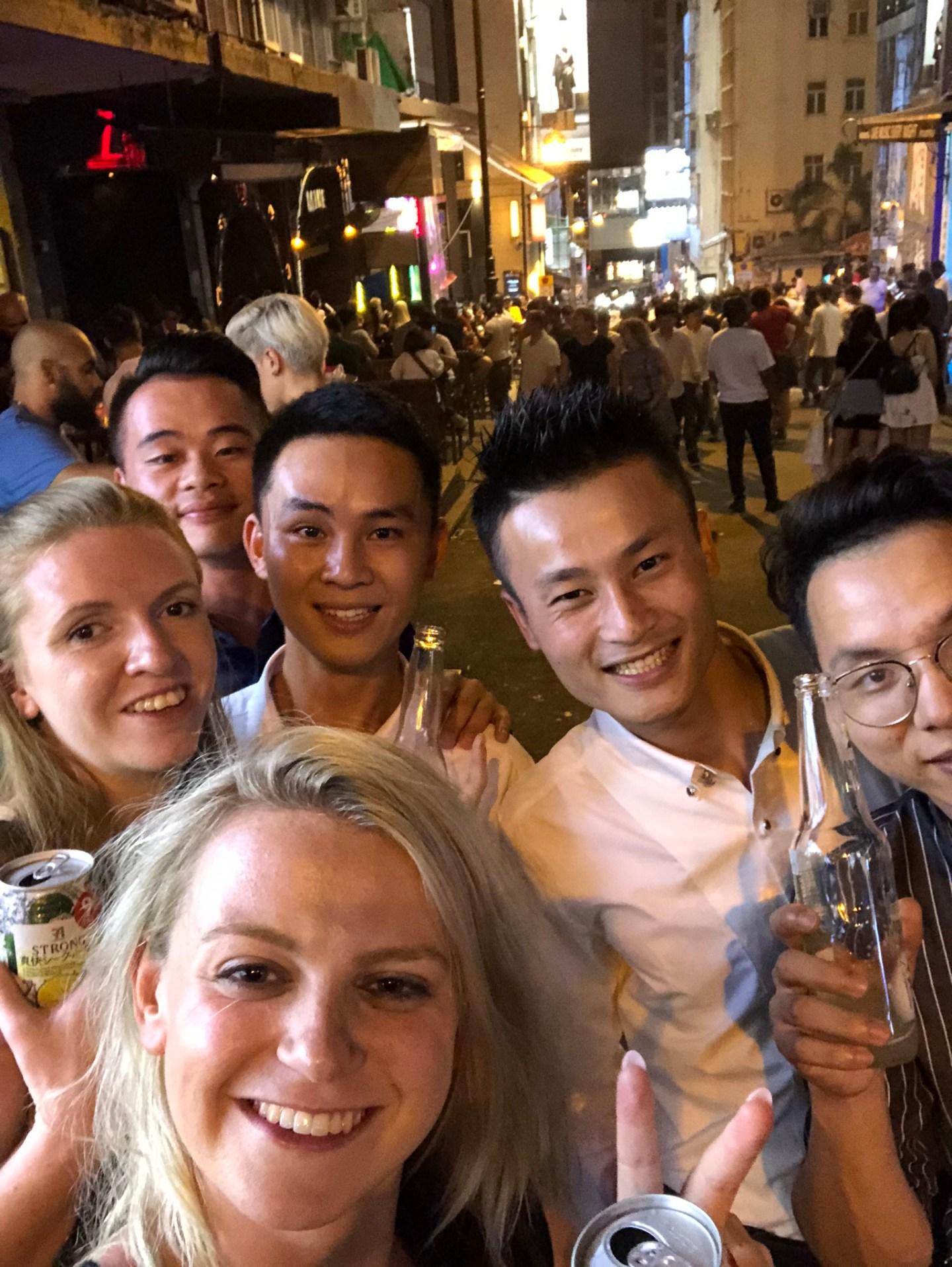 Making friends in Lan Kwai Fong, Hong Kong