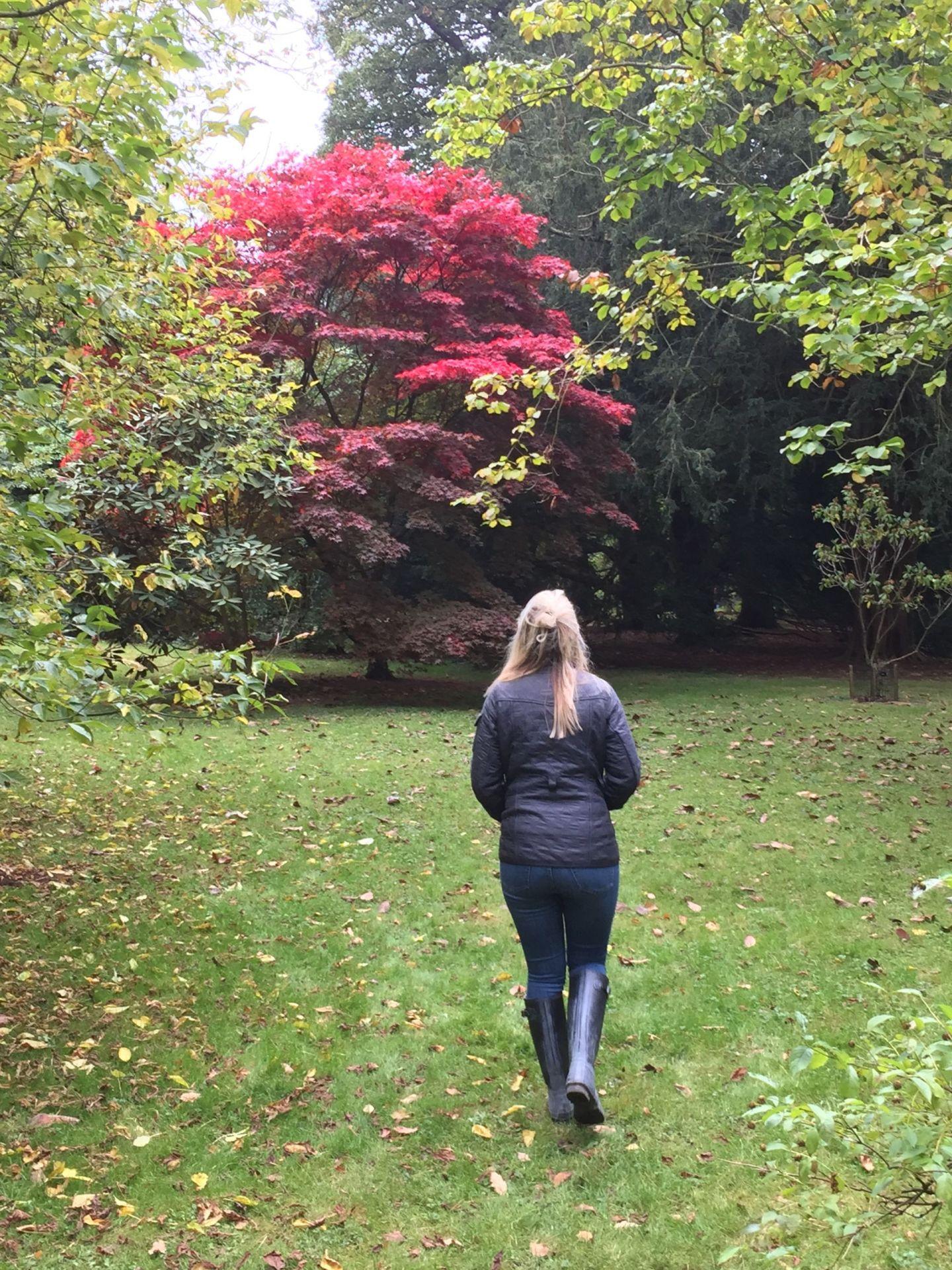 Laura at Westonbirt Arboretum in autumn