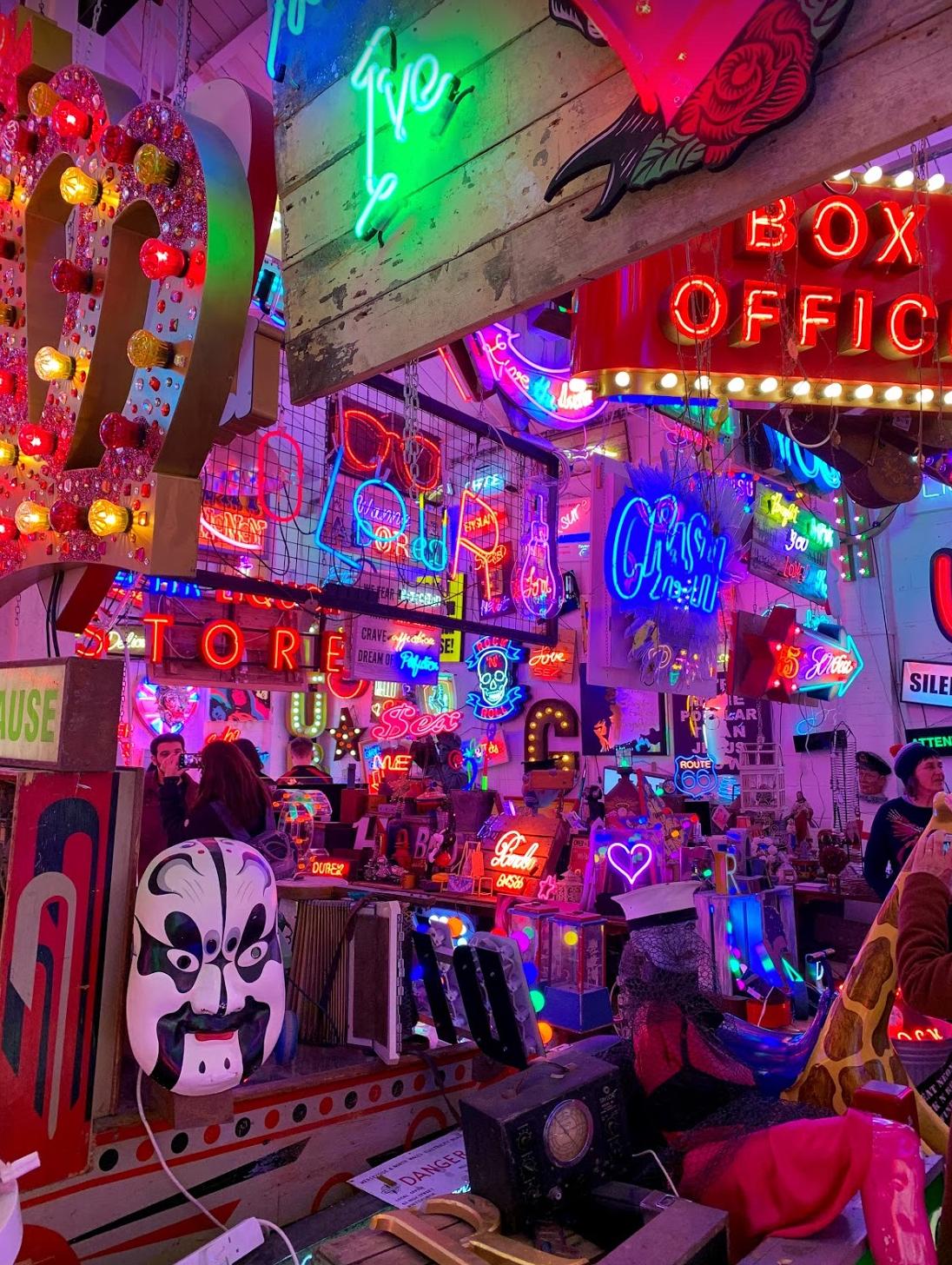 Hundreds of neon lights in London