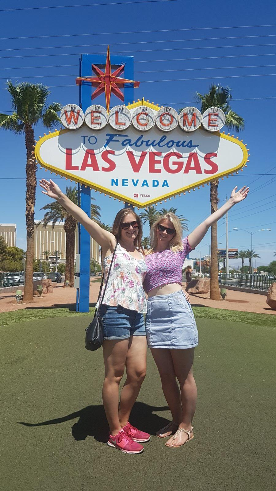 Girls at the Las Vegas Sign