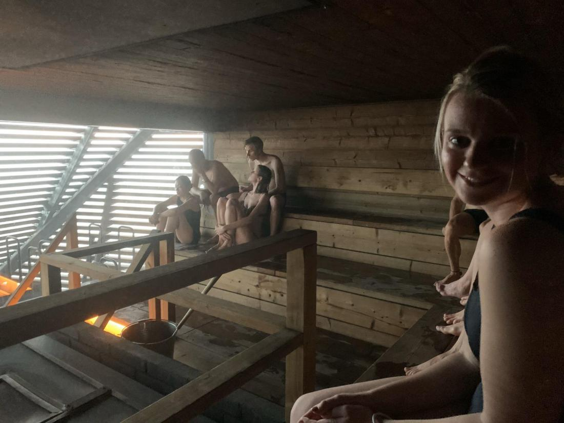 Laura in the sauna