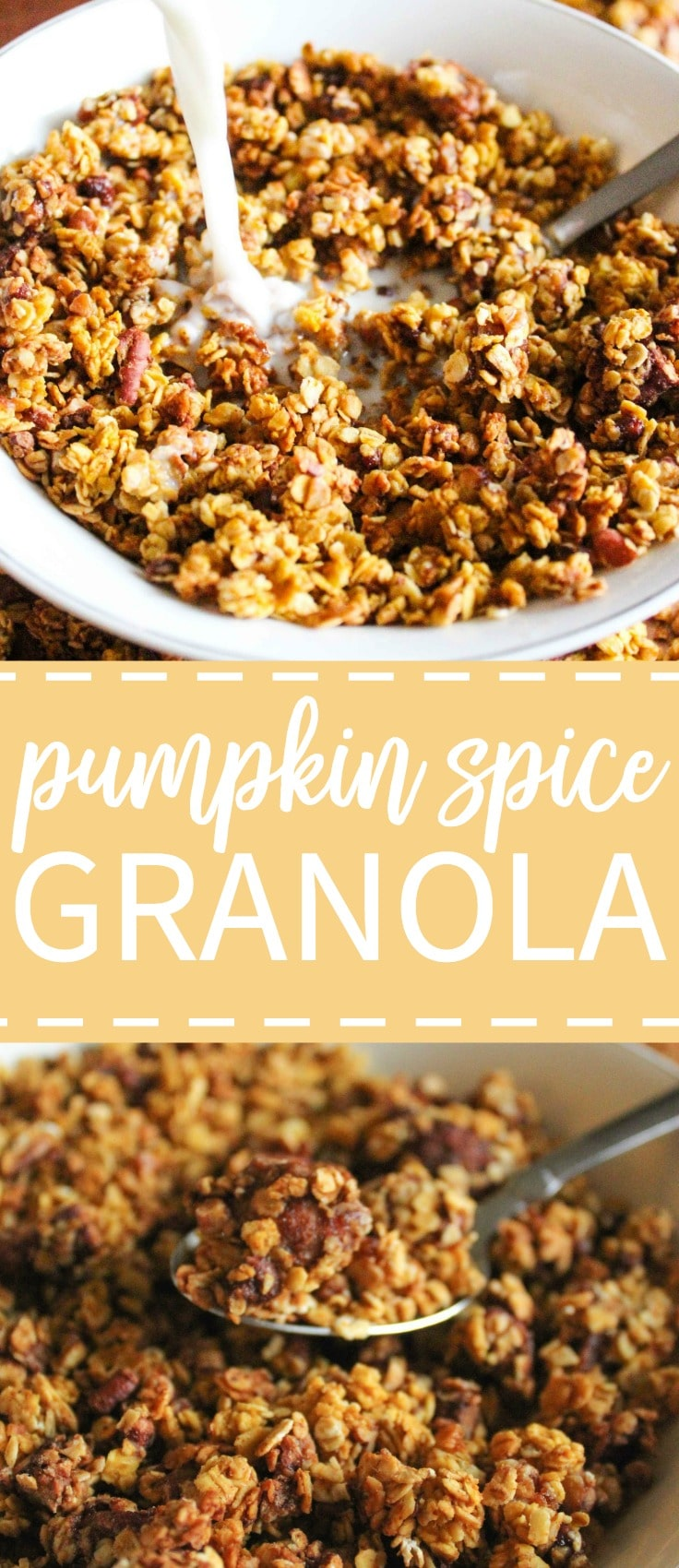 Sweet, crunchy, nutty pumpkin spice granola exploding with fall flavors!
