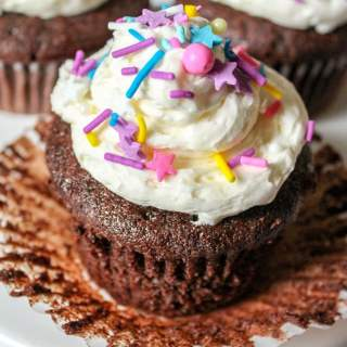 Chocolate Fudge Cupcakes with Almond Buttercream Frosting