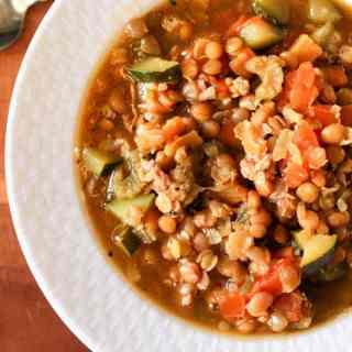 red lentil soup with sausage