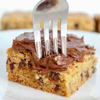 Chocolate Chip Cookie Bars with Chocolate Buttercream